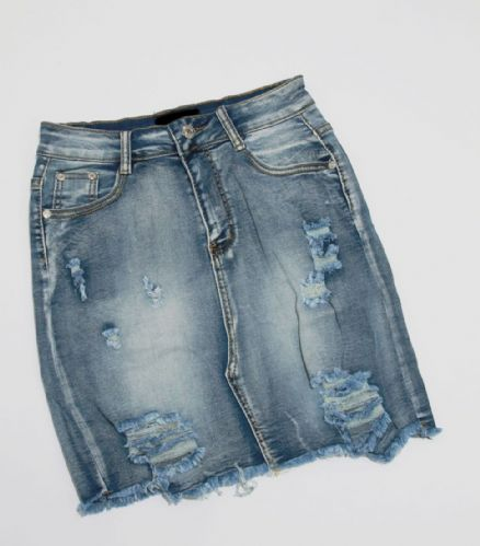 Denim High Waisted Distressed Skirt